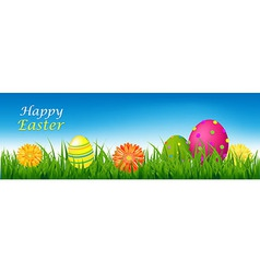 Happy Easter Banner With Grass And Eggs vector image vector image