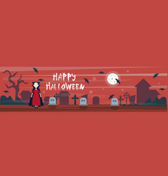 happy halloween greeting card vampire on cemetery vector image
