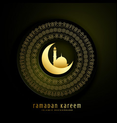 ramadan kareem greeting with moon mosque and vector image vector image