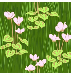 seamless ciklamen flowers pattern background vector image vector image