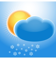 Sun cloud and snowflakes vector image vector image