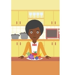 Woman with healthy food vector image vector image