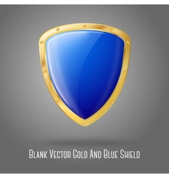 Blank blue realistic glossy shield with golden vector image vector image