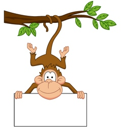 monkey with blank sign vector image vector image