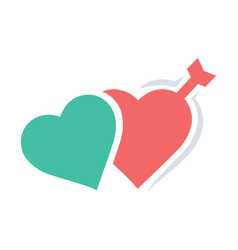 valentines twins heart arrow red icon vector image