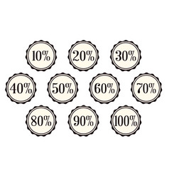 a selection of percentage off buttons over a vector image