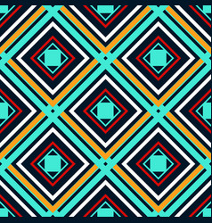 blue orange green and white rhombuses on a dark vector image