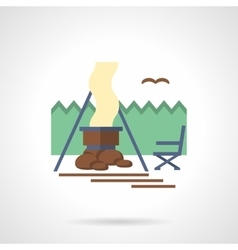 Forest camp flat color icon vector image