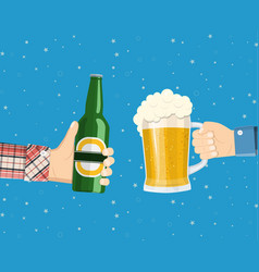 hands holding beer glass and beer bottle vector image