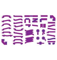 Set of beautiful festive colored purple ribbons vector