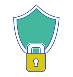 shield and padlock object to security protection vector image