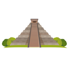 aztec pyramid with green bushes at base isolated vector image vector image