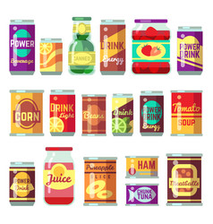canned goods set tinned food conservation vector image