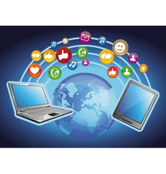 concept - mobile computers and social media vector image vector image