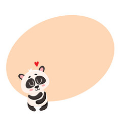 cute and funny baby panda character hugging itself vector image vector image