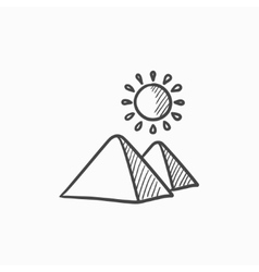 Egyptian pyramids sketch icon vector image