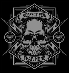 Respect skull lightning graphic vector image vector image