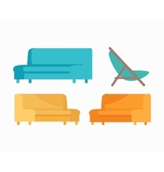 Set of luxury sofas and armchair for modern room vector