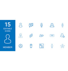 15 member icons vector