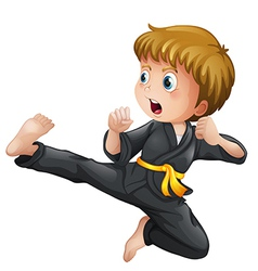 A young boy showing his karate moves vector