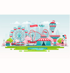 Amusement park urban landscape with carousels vector
