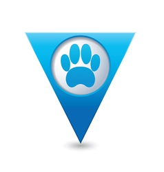 Animal footstep BLUE triangular map pointer vector