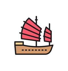 Asian junk boat hong kong ship flat color line vector