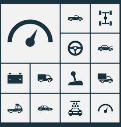 Auto icons set collection of wheelbase stick vector