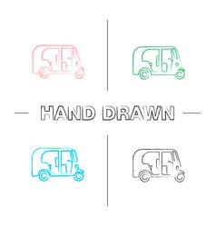 Auto rickshaw hand drawn icons set vector