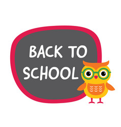 back to school banner with a cute owl vector image