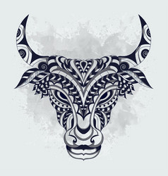 black and white stylized cow zentangle vector image