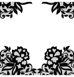 Black flower lace ornament vector