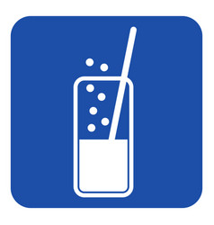 Blue white sign - carbonated drink and straw vector
