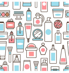 Bottles and jars with creams and lotions pattern vector