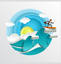 businessman surfing on waves paper cut vector image