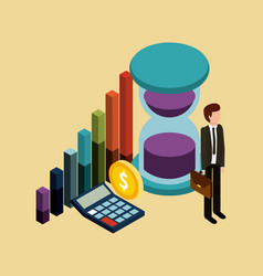 businessman with briefcase time money graph and vector image