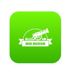 Cannon ball icon green vector