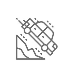 Car falls off a cliff line icon vector