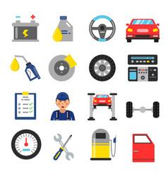 car service icons set different parts vector image