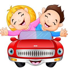cartoon boy and girl riding a car vector image