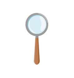 Cartoon magnifying glass with gray frame and brown vector