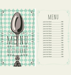 checkered menu for restaurant with price and spoon vector image