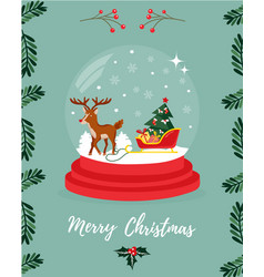 christmas greeting card with deer and sledge vector image