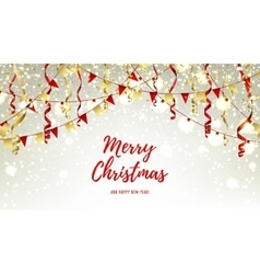 Christmas web banner with garlands and serpentine vector
