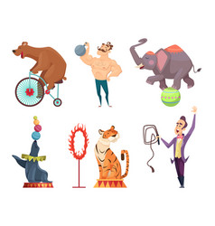 circus mascots clouns performers juggler vector image