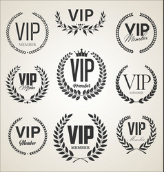 collection vip label with laurel wreath retro vector image