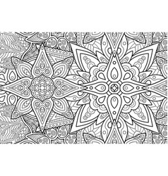 coloring book page with rectangle floral pattern vector image