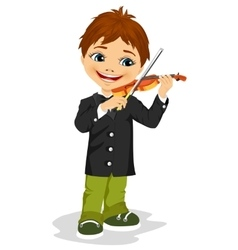 cute boy playing violin vector image