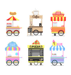 Delicious street fast food mobile bright carts set vector