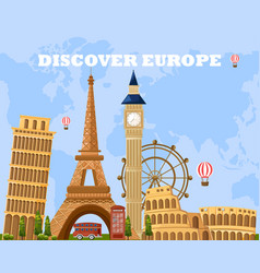 Discover europe travel card main tourist vector